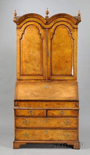 Queen Annestyle Walnut and Burl Walnut Inlaid Doubledome Secretaire Bookcase