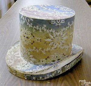 Pennsylvania wallpaper covered hat box ca 1835