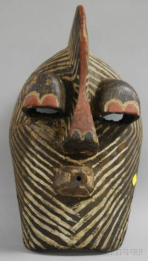 African Carved and Painted Wooden Mask