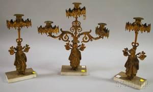 Threepiece Giltmetal Figural Girandole Set