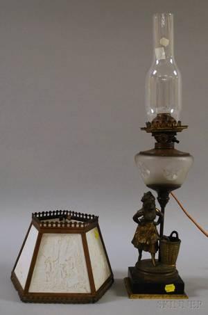 Victorian Brassplated Cast Metal Figural Kerosene Lamp with Hexagonal KPM Lithophane Scenic Panel Shade