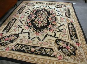 Two Large Floral Pattern Hooked Rugs