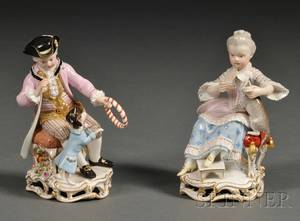 Pair of Meissen Porcelain Figures of a Girl and Boy with Pets