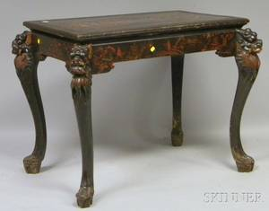 Chinese Lacquered Carved Wood Center Table