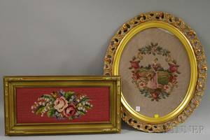 Two Framed Floral and Portrait Needlepoint Panels