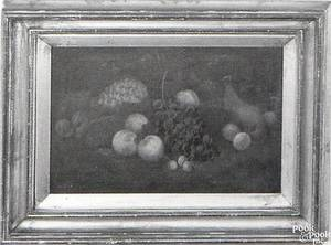 Oil on canvas still life of fruit late 19th c
