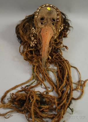 African Carved Wood and Fiber Bird Mask