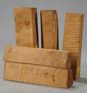 Five Maple Violin Neck Blocks