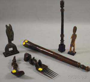 Six Carved Wooden Ethnographic Items