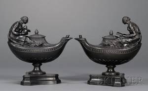 Pair of Wedgwood and Bentley Black Basalt Vestal and Reading Lamps and Covers