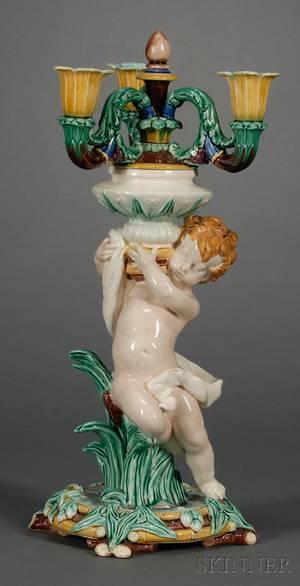 Wedgwood Majolica Figural Candelabra