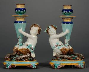Pair of Wedgwood Majolica Figural Candlesticks