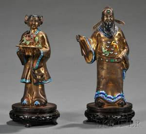 Pair of Chinese Export Goldwashed and Enamelaccented Silver Figures