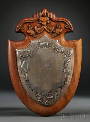 Chinese Silver Shieldshaped Presentation Plaque