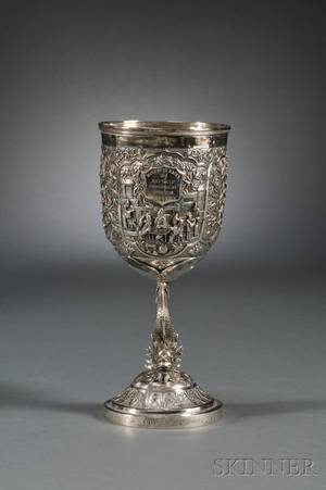 Chinese Export Silver Trophy Goblet