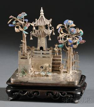 Miniature Chinese Export Silver and Enamelaccented Model of a Village Scene