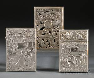 Three Chinese Export Silver Card Cases