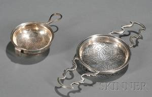 Two George III Silver Punch Strainers