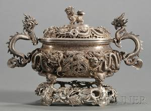 Chinese Export Silver Sauce Tureen and Stand