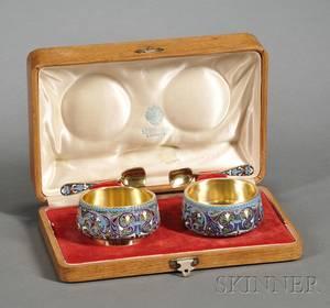 Cased Set of Russian Silver and Enamel Salt Cellars