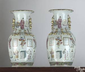 Pair of famille rose porcelain urns late 18th c