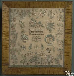 Evesham New Jersey silk on linen needlework sampler