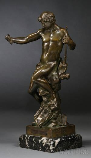 mile Louis Picault French 18331915 Bronze Figure of an Allegorical Man Semeur dIdees