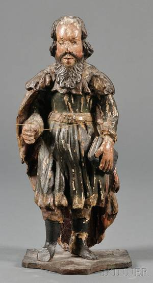 Continental Carved and Painted Santos Figure