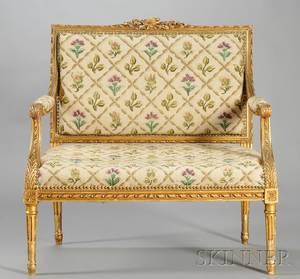 Louis XVIstyle Needlepointupholstered Giltwood Settee