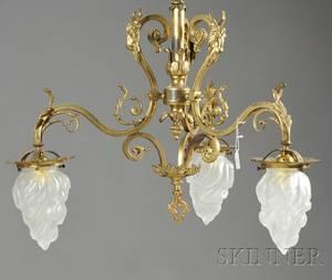 Louis XVstyle Giltbronze Threelight Chandelier