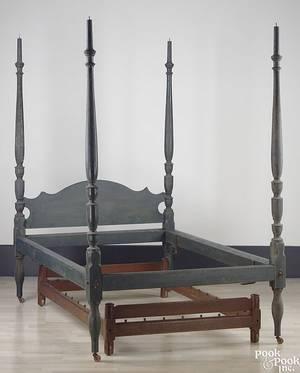 Pennsylvania painted poplar tall post bed ca 1820