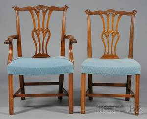 Set of Eight George IIIstyle Carved Mahogany Dining Chairs