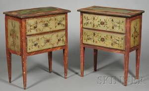 Pair of Continental Painted Pine Twodrawer Occasional Tables
