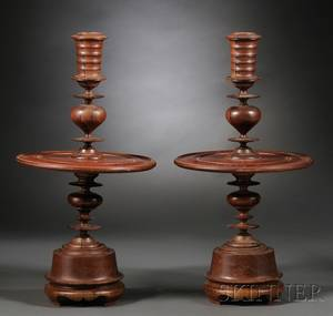 Pair of Dutch Colonialstyle Turned Wood Candlesticks