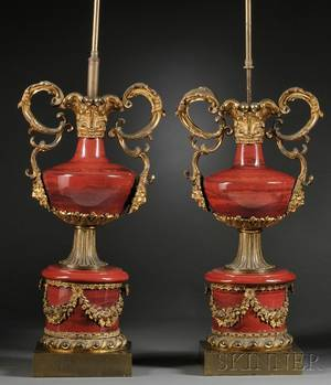 Pair of Large Louis XVstyle Bronzemounted Slag Glass Lamps