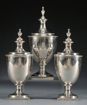 Three Tiffany  Co Federalstyle Sterling Covered Urns