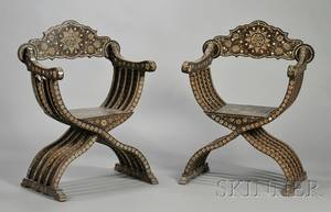 Pair of HispanoMoresque Boneinlaid Hardwood Curuleform Chairs