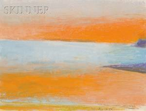 Wolf Kahn American b 1927 Abstract Landscape in Orange and Blue