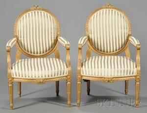 Pair of Louis XVIstyle Giltwood Fauteuil  la Reine