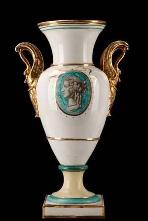 Large Urn With Gilt Swan Handles Ugo Zaccagnini