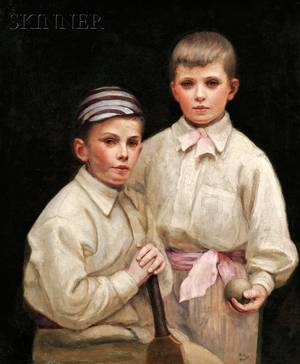 British School 19th Century Portrait of Two Young Boys with Cricket Ball and Bat