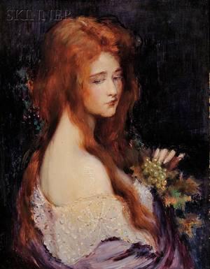 Carle John Blenner American 18621952 Woman Holding Grapes