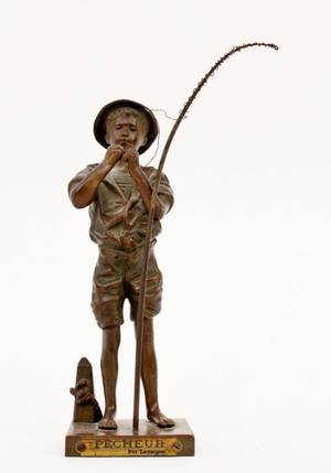 Adolphe Jean Lavergne Bronze Fisherman Sculpture