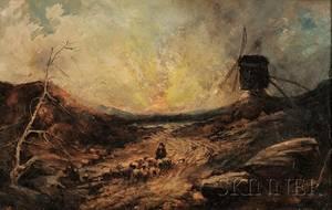 John Linnell British 17921882 Sunset Landscape with Windmill