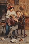 Eugenio Zampighi Italian 18591944 An Afternoon Tea