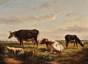 Attributed to Jacobus Nicolas Baron Tjarda van Starkenborg Dutch 18221895 View of Cows and Sheep at Pasture