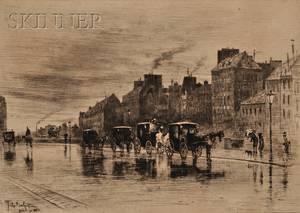 Flix Hilaire Buhot French 18471898 Une matinee dhiver au quai de lHotel Dieu