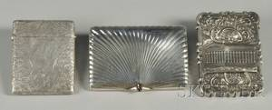 Two Silver Card Cases and a Silver Cigarette Case
