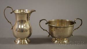 American George IIstyle Sterling Creamer and Open Sugar