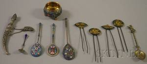 Group of Enameled Silver and Four Asian Hair Pins